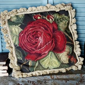 Vintage Roses Needlepoint Tassled Pillow
